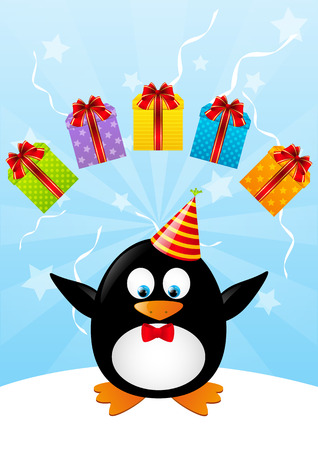 Funny penguin with color gifts Stock Vector - 28788027