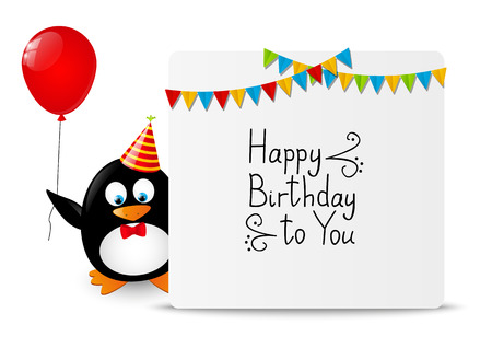 Funny Penguin With Greeting Card Royalty Free Cliparts Vectors And