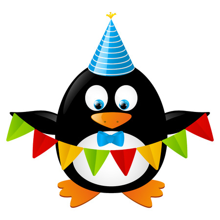 Funny penguin with party flags Vector