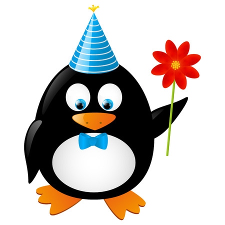Funny penguin with red flower Stock Vector - 28788040