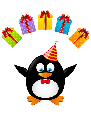 Funny penguin with color gifts Stock Vector - 28788041