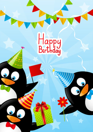 Funny penguins with Birthday gifts Illustration