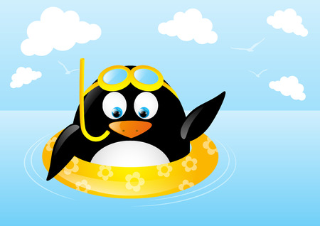 Funny swimming penguin with lifebuoy Vector