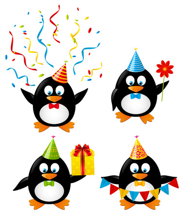 funny birthday: Set of funny Birthday penguins Illustration