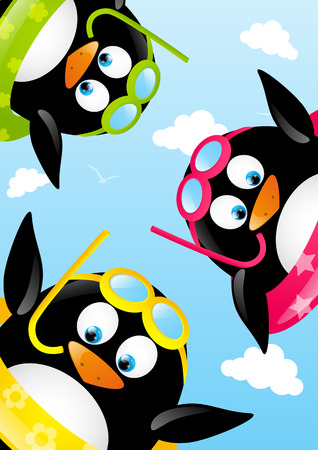 Funny swimming penguins on beach Vector