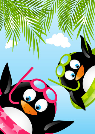 Funny swimming penguins on beach Stock Vector - 28788070
