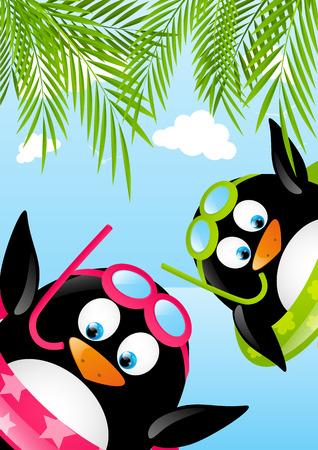 penguins on beach: Funny swimming penguins on beach Illustration