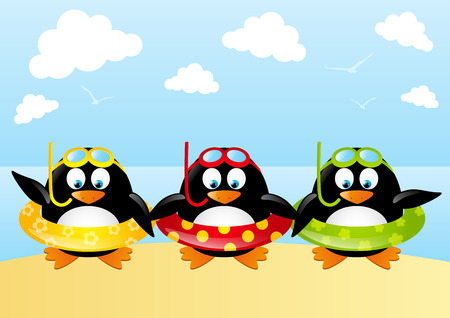 Funny swimming penguins with lifebuoy Stock Vector - 28788071