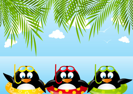 Funny swimming penguins with lifebuoy Vector