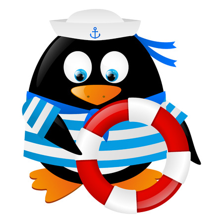 Cute penguin sailor with lifebuoy Vector