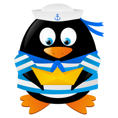Cute penguin sailor with paper boat Stock Vector - 28788098