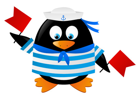 Cute penguin sailor with red flags Stock Vector - 28788099