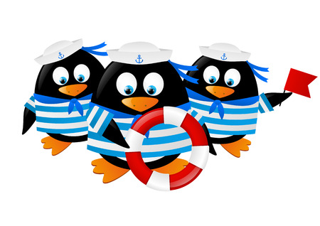 Cute penguin sailors isolated on white Vector