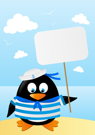 Cute penguin sailor with paper card Stock Vector - 28915457