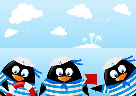 Cute penguin sailors on sea background Illustration