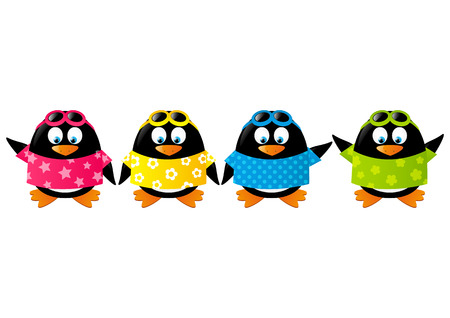 Cute penguins wearing color shirts Stock Vector - 28915467
