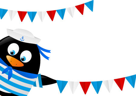 Cute penguin sailor with flags Stock Vector - 28915374