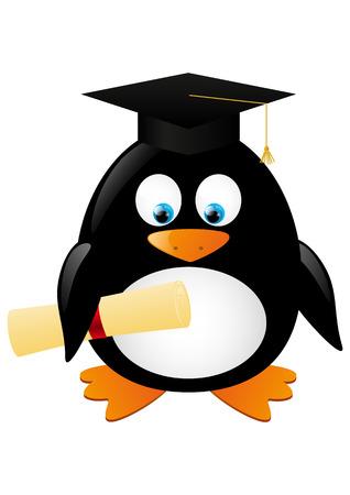 graduate hat: Student penguin isolated on white Illustration