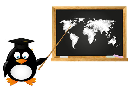 Student penguin with school blackboard Vector