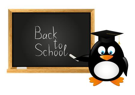Student penguin with school blackboard Stock Vector - 28915405