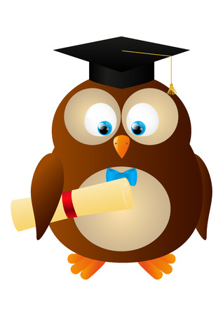 Funny owl with student hat