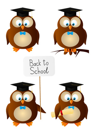 Set of funny owl students Vector