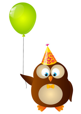 happy birthday cartoon: Cute Birthday owl with balloon