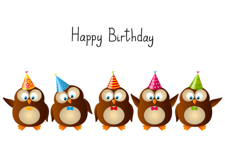 Cute Birthday owls isolated on white Vector