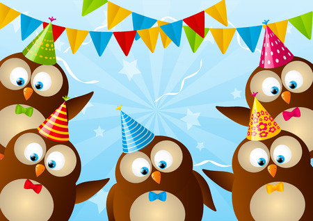 Birthday card with funny owls Vector