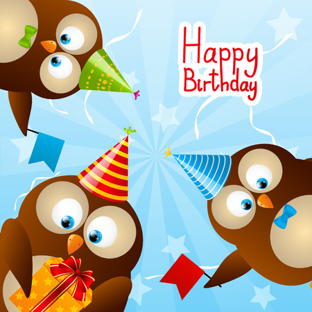 Cute Birthday owls for Your design Vector