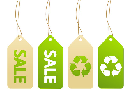 Set of ecology paper tags Vector