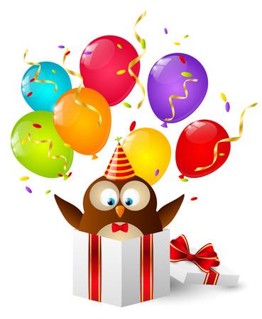 Birthday owl in gift box Vector