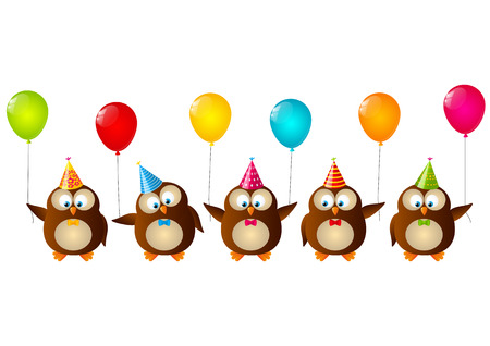Birthday owls with color balloons Vector