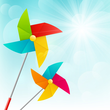 wind wheel: Color pinwheels on sunny background