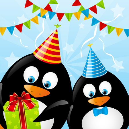 Funny Birthday penguins for Your design Vector