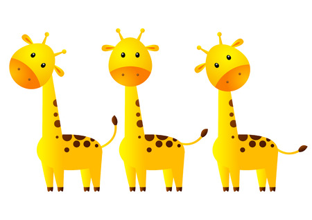 Funny giraffes isolated on white Vector
