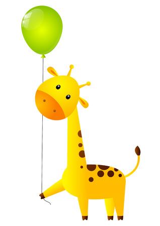 Funny giraffe with green balloon Vector