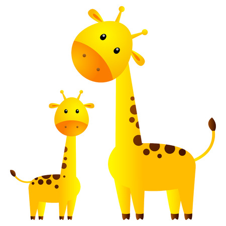 Funny giraffes isolated on white