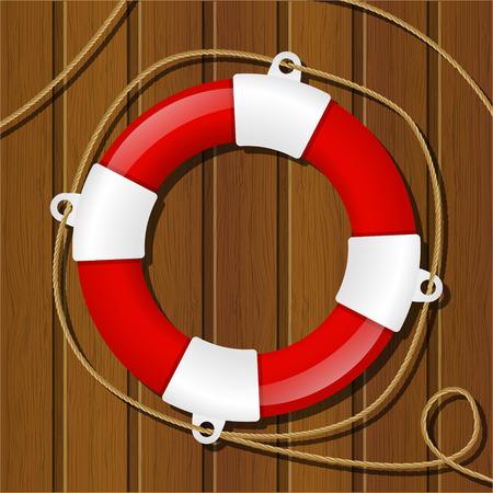 life preserver: Red lifebuoy on wooden background Illustration