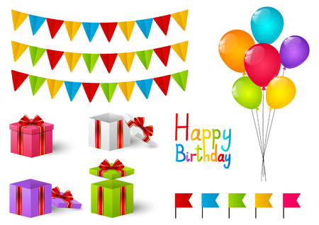 Set of Birthday objects for Your design Vector