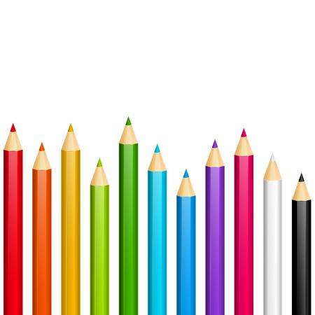 Color pencils on white background Illustration
