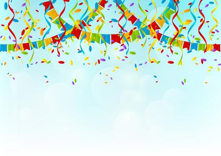 Kleur partij vlaggen op hemelachtergrond Stock Illustratie