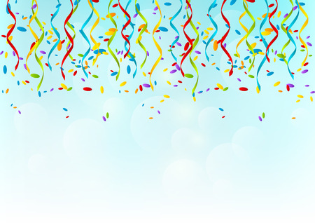 Color party ribbons on sky background Vector