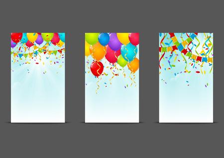 party celebration: Set of 240 x 400 Birthday banners Illustration