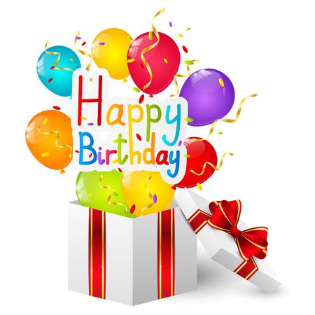 cadeau anniversaire: Bo�te de cadeau d'anniversaire avec des ballons de couleur
