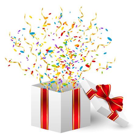 cadeau anniversaire: Bo�te de cadeau d'anniversaire avec des confettis de couleurs