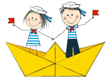 paper dresses: Funny kids in paper boat Illustration