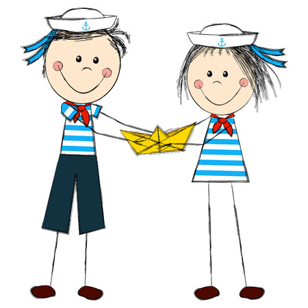Funny kids wearing sailor costume Vector