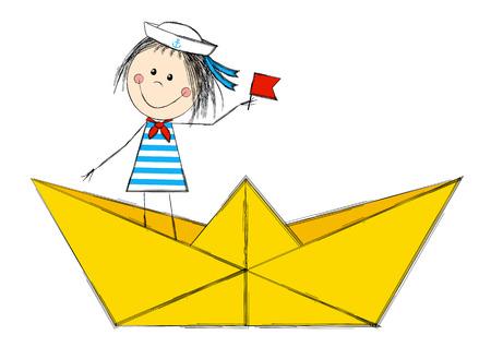 Funny sailor girl in paper boat Çizim
