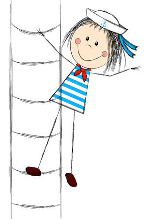 sailor girl: Funny sailor girl on ladder